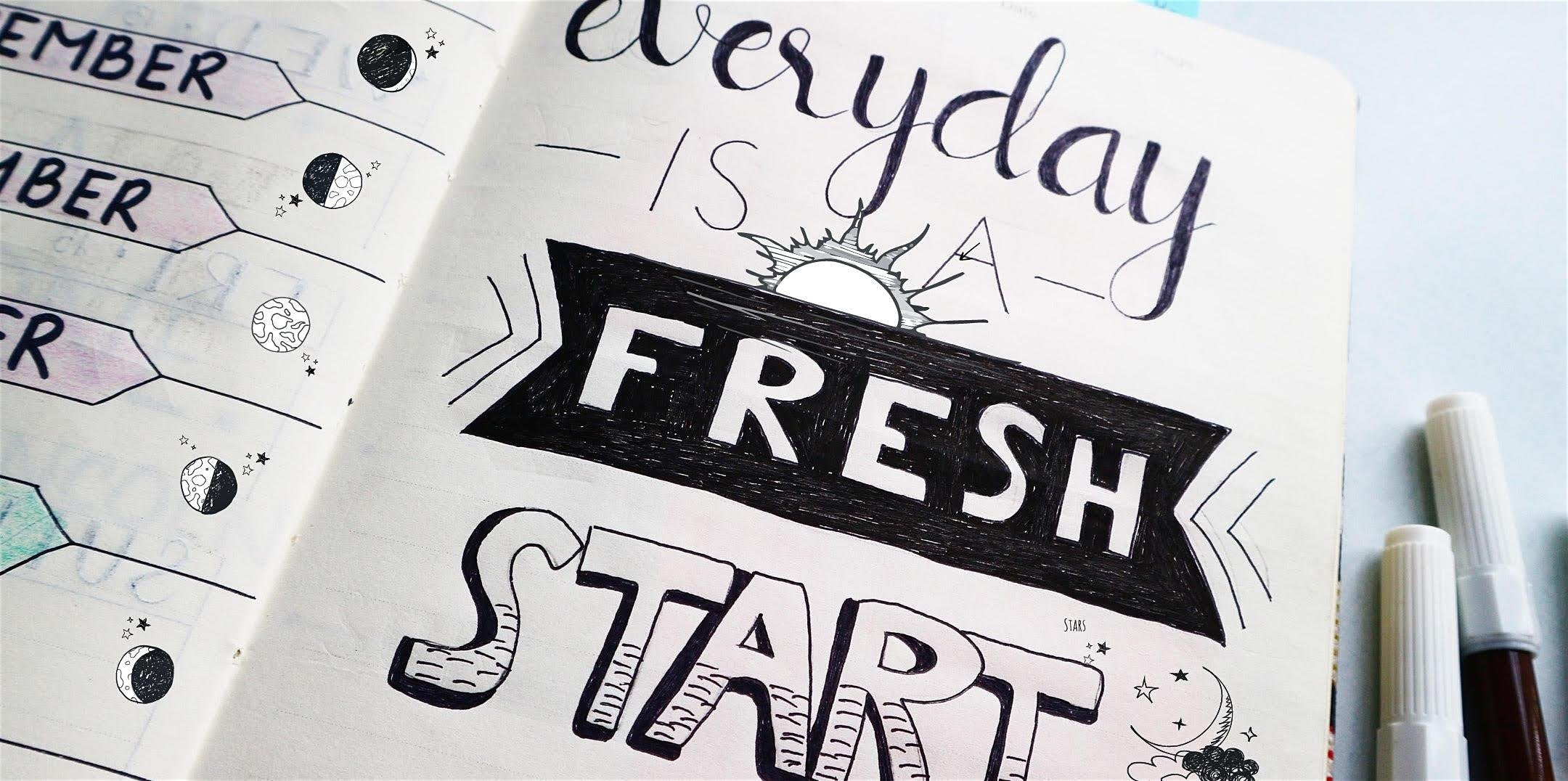 image of a Fresh Start journal page